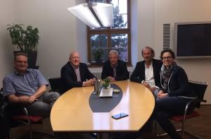 Auf dem Bild von links nach rechts: Joachim Weber, Gerhard Dehler, Bürgermeister Dieter Kolb, Reinhold Stier, Ingrid Fritsch