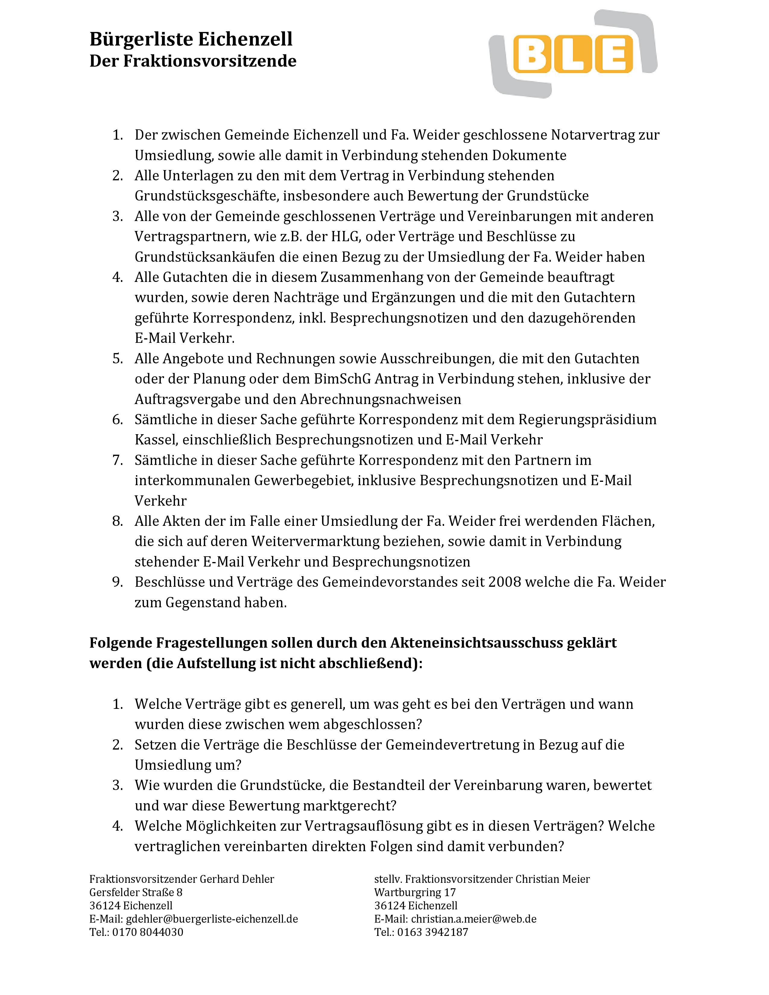 Bürgerliste Eichenzell – sachorientiert und innovativ für Eichenzell